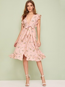 Ditsy Floral Plunging Neck Dress With Wrap Skirt