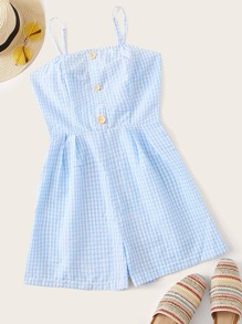 Button Front Textured Gingham Slip Romper
