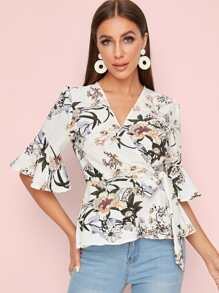 Floral Print Tie Side Wrap Blouse