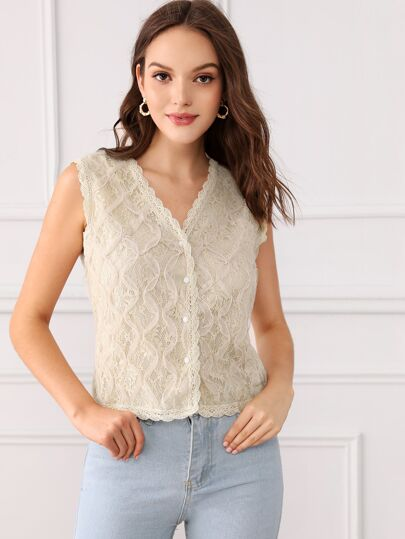 d687e3ccd5c7b4 Allover Lace Button Front Sleeveless Top
