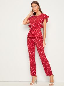 Polka Dot Ruffle Sleeve Belted Top & Pants Set