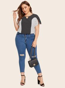 Plus Colorblock Polka Dot Keyhole Front Blouse