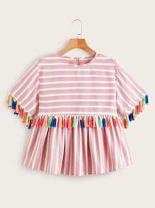 Plus Striped Tassel Trim Ruffle Hem Blouse
