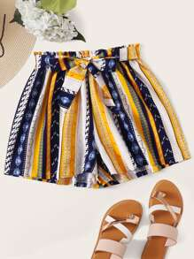Plus Striped Geo Print Belted Shorts