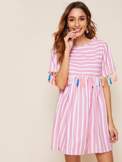 70dd330286b Vestido ajustado con fleco en contraste con estampado de rayas