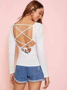 Solid Lace Up Back Tee