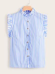 Plus Striped Button Front Lettuce Frill Blouse