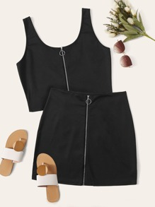 Plus Zip Up Tank Top With Slim Skirt