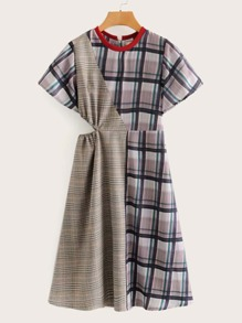 Cut And Sew Plaid Print Cut Out Side Dress