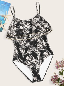 Plus Leaf Print Tiered Layer One Piece Swimsuit