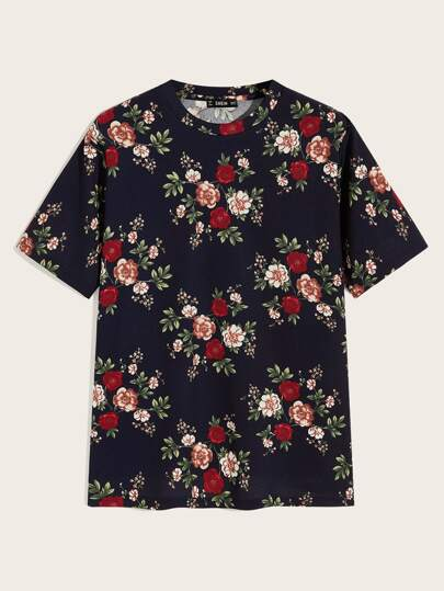 Men Short Sleeve Floral Print Top