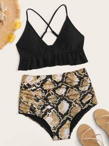 Criss Cross Ruffle Hem Top With Snakeskin Bikini