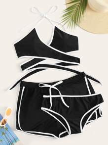 Plus Wrap Halter 3piece Bikini Set
