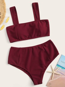 Plus Textured Top With High Waist Bikini Set