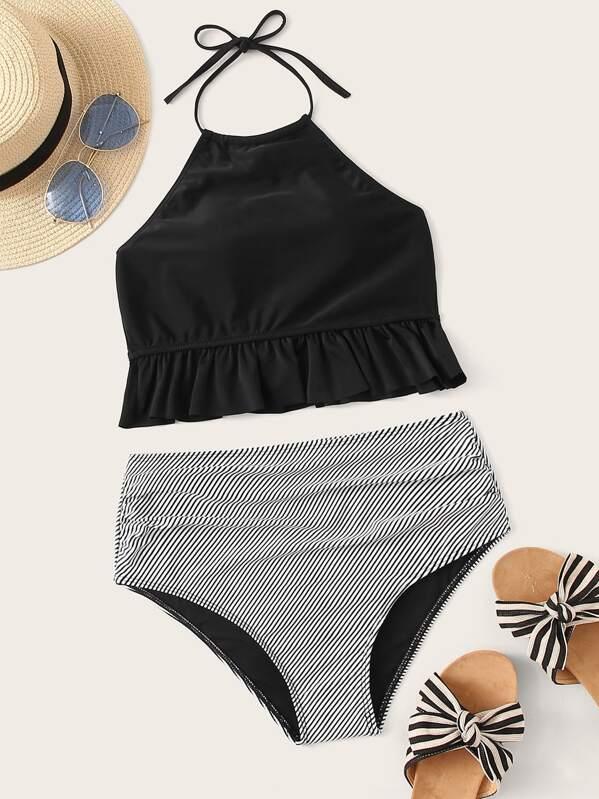1c20d0645a Frill Hem Halter Top With Striped Bikini Set | SHEIN
