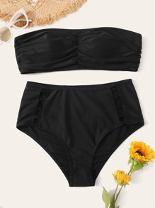 Plus Ruched Bandeau With Criss Cross Bikini Set