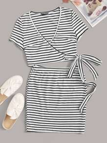 Surplice Neck Knotted Striped Top & Bodycon Skirt Set