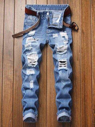 e6ec197b6c01 Guys Button Waist Ripped Washed Jeans Without Belt