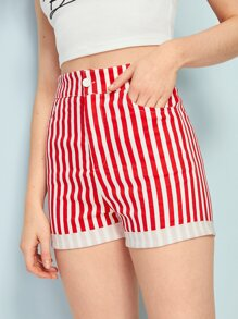 Button Waist Striped Rolled Hem Shorts
