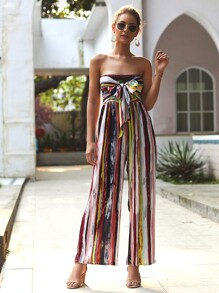 Strapless Rainbow Striped Tie Front Shirred Jumpsuit