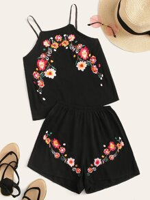 Floral Embroidery Cami Top With Shorts