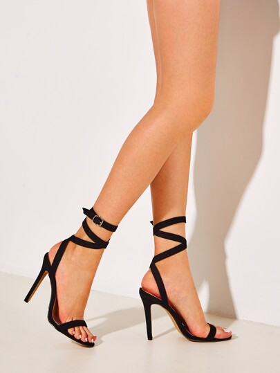 Tie Leg Buckle Strap Stiletto Heels