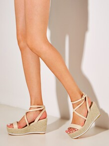 Cross Strap Platform Espadrille Wedges