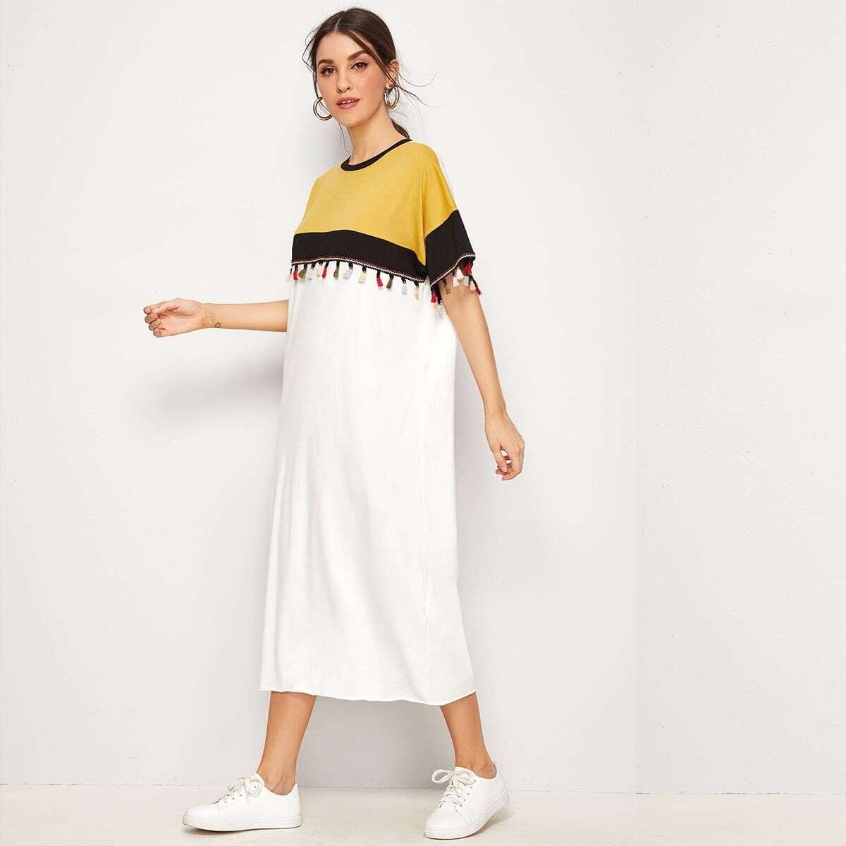 Кроить и шить платье с разноцветной бахромой