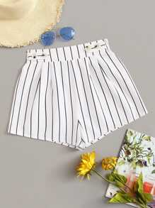 Buttoned Front Frill Trim Striped Shorts