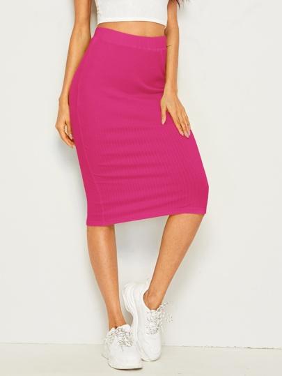 f197a9a7cd Neon Pink Rib-knit Pencil Skirt