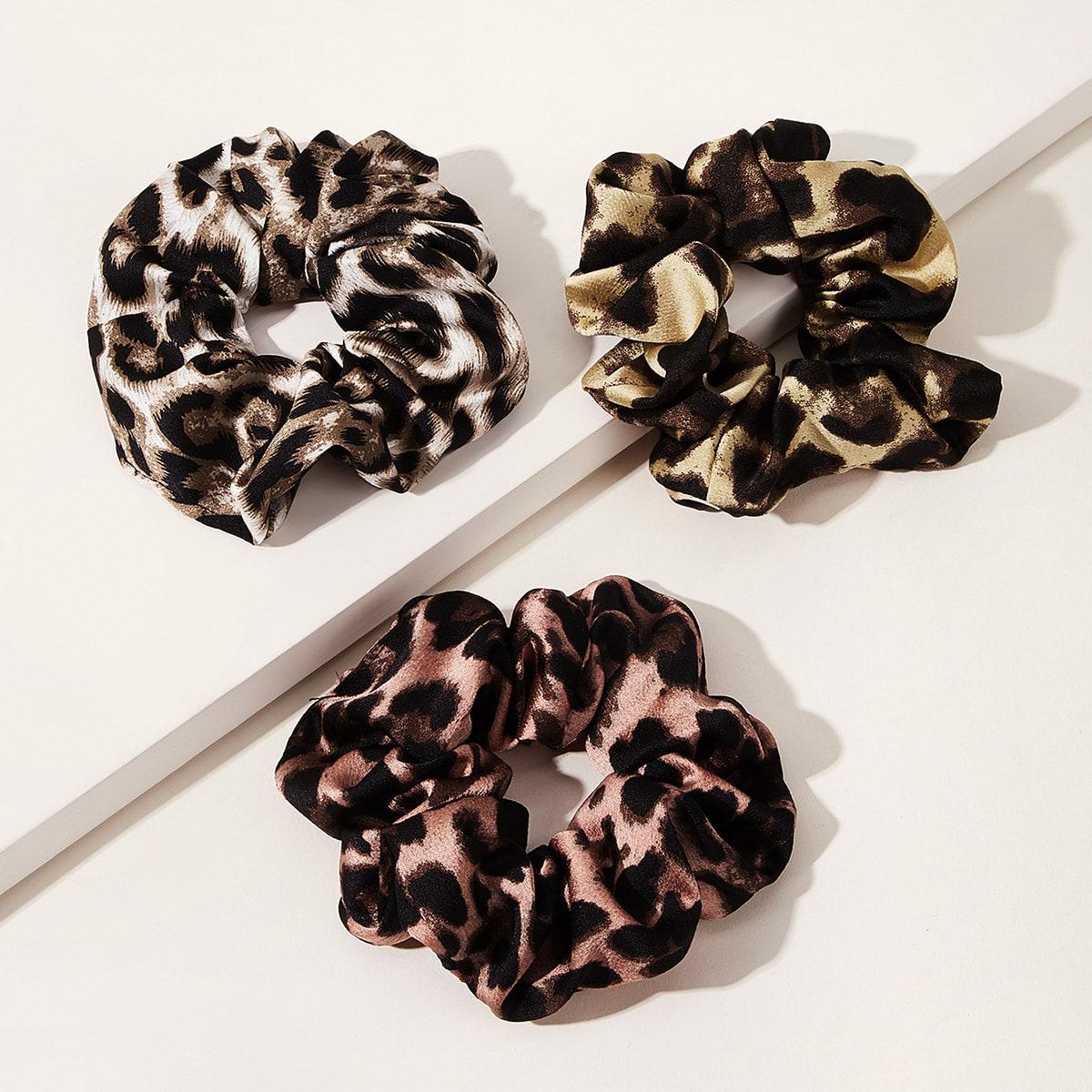 Широкие Резинки Для Волос С Леопардовым Принтом от SHEIN