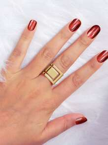 Golden Stereo Geometric Smooth Joint Ring 1pc