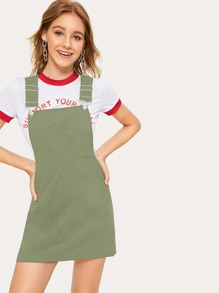 Solid Racer Back Pinafore Dress