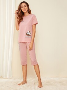 Cat & Letter Print Pajama Set