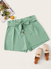 Plus Button Self Tie Solid Shorts
