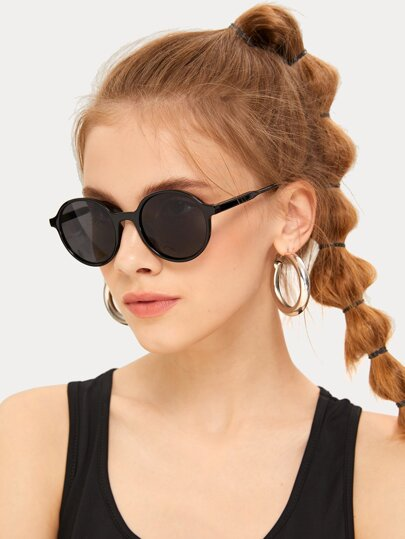Solid Frame Round Sunglasses