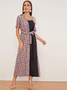 Plaid Contrast Asymmetrical Neck Belted Dress