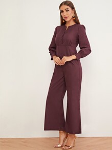 Notched Covered Button Zip Back Jumpsuit