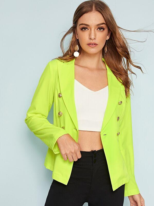 19d6842aac Neon Green Double Button Detail Blazer