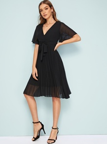 Solid Pleated Detail Belted Dress