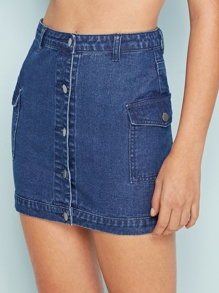 Pocket Patch Button Through Denim Skirt