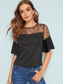 Floral Embroidered Mesh Insert Flounce Sleeve Top