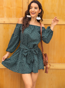 Polka Dot Off Shoulder Ruffle Hem Belted Dress