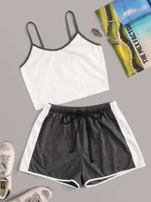 Contrast Binding Cami Top With Colorblock Drawstring Waist Shorts