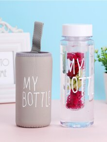 Letter Print Clear Water Bottle