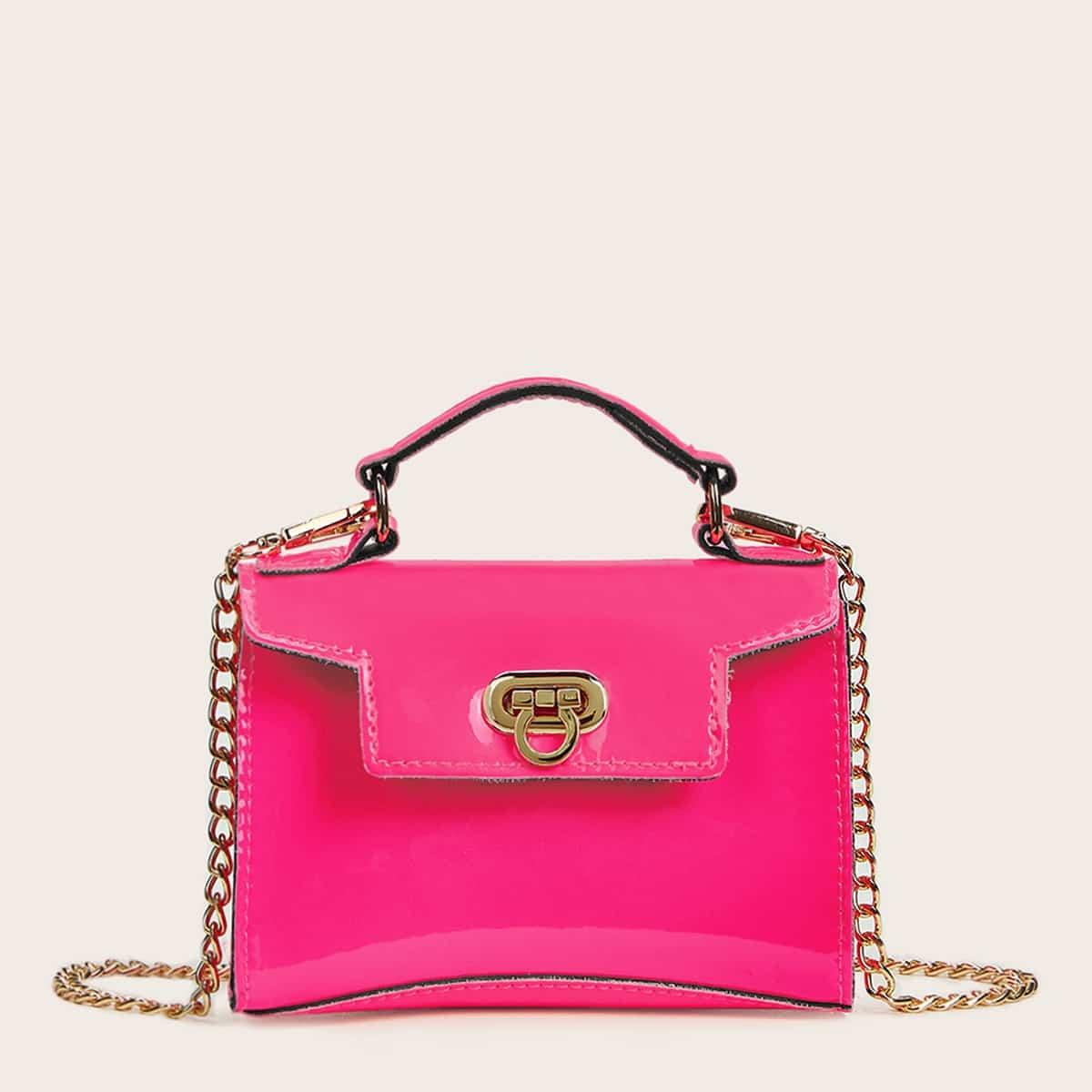 Неоновая розовая сумка-саквояж с металлическим замком