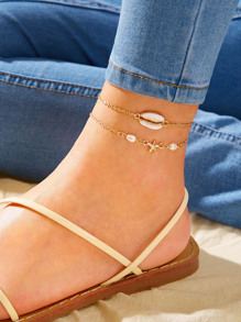 Shell Charm Chain Anklet 2pcs