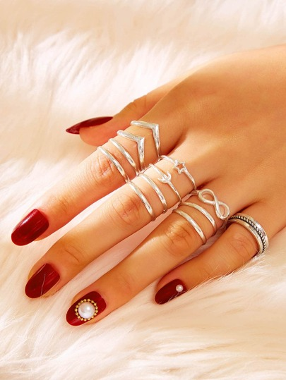 Infinity & Star Decor Ring 12pcs