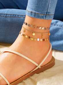 Disc & Star Charm Chain Anklet 3pcs