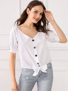 Button Front Knot Hem Blouse